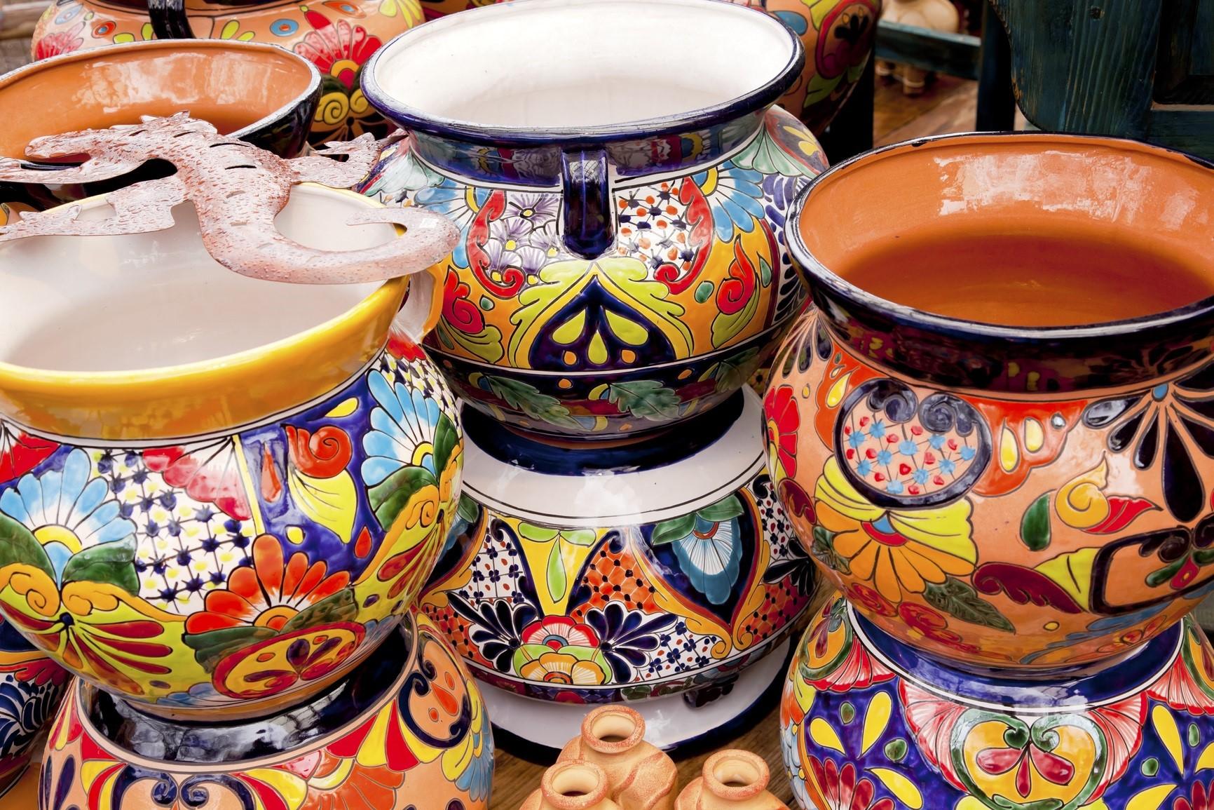 Arts and Crafts - Mexican Colorful Souvenir Ceramic Pots Sedona Arizona